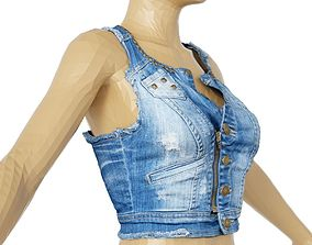 Top Blue Jeans Tiny Studs Clothing Women 3D model
