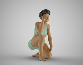 Woman Stand on One Knee 3D print model