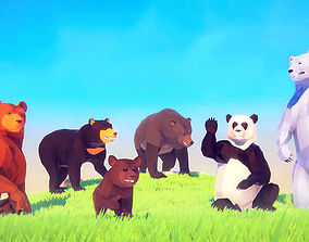 3D model Poly Art Bears