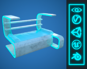 Sci-Fi style Bed 3D model VR / AR ready