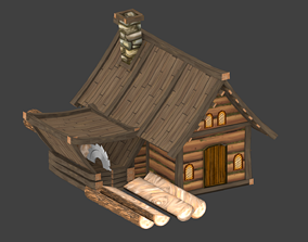 3D model Lowpoly animated fantasy Lumbermill