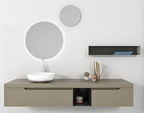 3D model Bathroom furniture set Gold 3