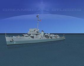 3D Evarts Class Destroyer DE3 USS Barry