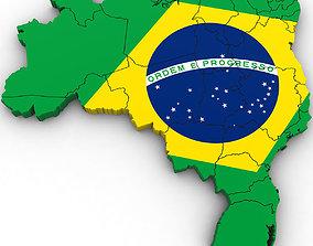 3d Political Map of Brazil