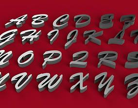 BRUSH SCRIPT font uppercase and lowercase 3D letters STL