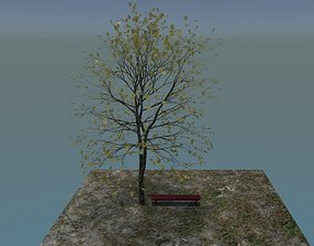 3D model Realistic Rigged Tree with Bench