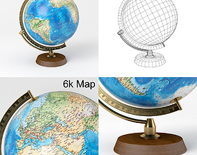 3D asset Earth Globe with Wooden Stand and Brass 3