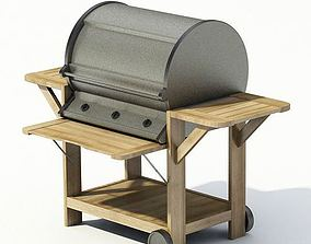 Wooden Metal Grill Barbeque 3D model