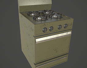 3D asset Stove Low Poly Game Ready