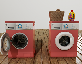 Washing machine 3D model rigged game-ready