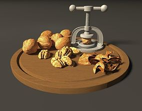plate with walnuts 3D