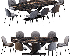 3D model Cattelan Italia Tina chair Stratos Keramik table
