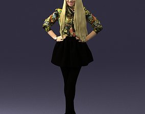 Smiling blonde in a skirt 0238 3D Print Ready