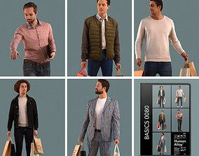 Set of 3D men shopping