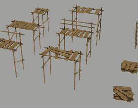 3D model Modular Wooden Scaffold PBR