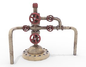3D model Oil Pumpjack Wellhead Weathered 3