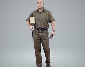 Standing Delivery Man with Uniform 3D model 1
