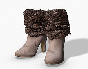 3D model Fur Trim Heel Boots - Photoscanned PBR
