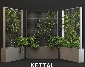 Kettal Pavilions XL Planter With Plants 3D model