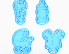 Baby Shower cookie cutter set of 4 3D printable model