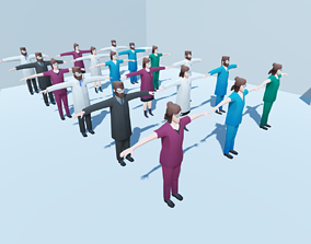 3D asset Low poly hospital people with randomisation