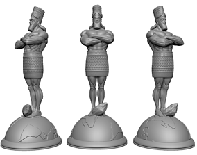 Daniel statue standing on Globe with 3D print model 3