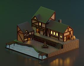 Low poly Medieval scene 3D asset realtime