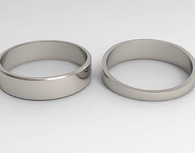 Kindness Couple Ring Platinum Polished 3D print model