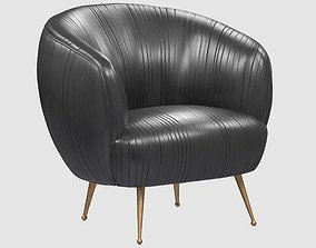 3D asset SOUFFLE CHAIR Ruched leather Onyx by Kelly