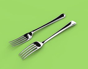 Metal fork 3D four
