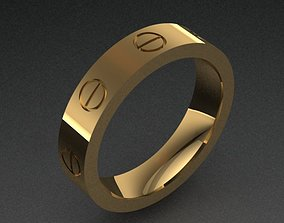 Cartier Style Band Rings Set With 8 3D printable model 2