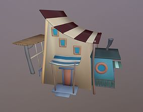 Low Poly Cartoon House 3D asset