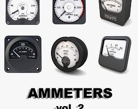 3D Vintage analog ammeters collection vol 2