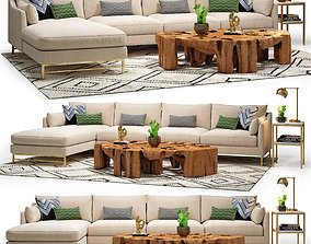 Benson Sectional and Meteor Coffee Table Set 3D