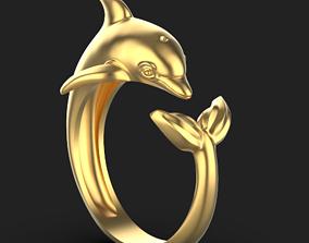 3D print model Dolphin ring platinum