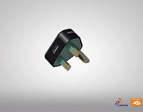 UK 3 PIN PLUG 5V USB OUTPUT 3D model