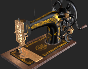 3D model Old Antique Sewing Machine PBR