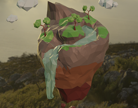 Low Poly Isometric Mountain terrain Island with 3D model