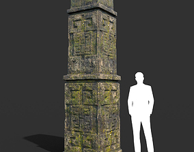 Low poly Mossy Ruin Temple Element 01 190403 3D model