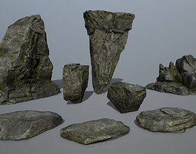 cliff rocks 3D asset game-ready stone