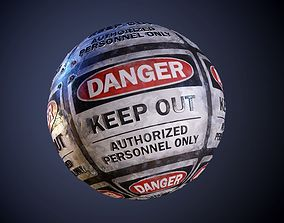 Danger Hazard Sign Keep Out Seamless PBR Texture 3D model