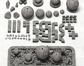 Stone Flowerbed constructor 3D model
