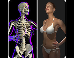 Rigged Female X-Ray Skeleton with Skin 3D model