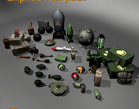 Explosives and bomb pack 3D model