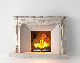 3D Classic Marble Fireplace 02