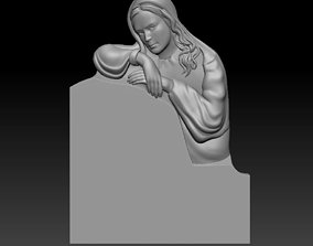3D model of a monument with a girl sculptures