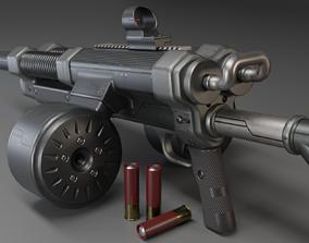 Shotgun with double barrel 3D model