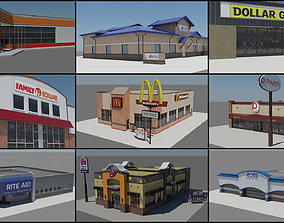 3D asset USA Chain Stores PACK 1