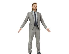 Blonde business man in a grey suit 3D model