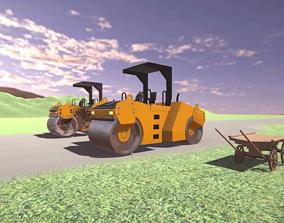 Vehicle - Cart and Asphalt compactor 3D asset